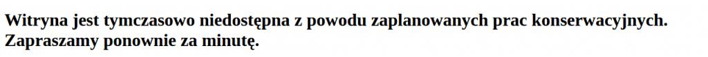 Komunikat konserwacja wordpress