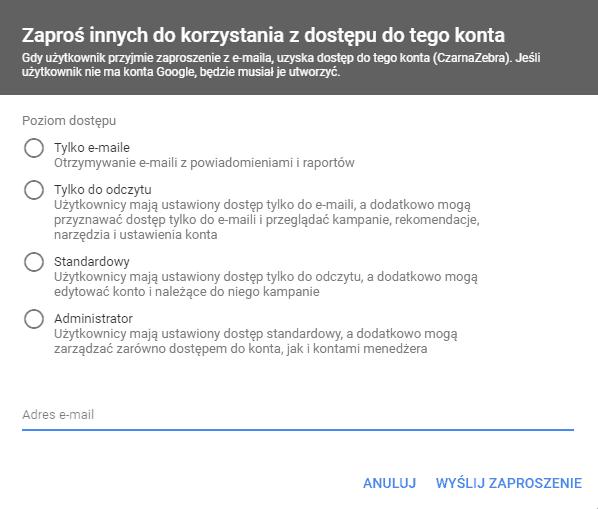 Jak udostępnić konto Google Ads? 2