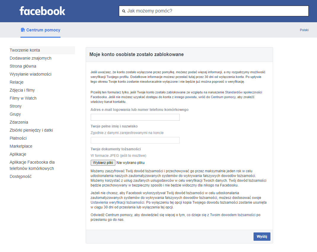 Jak odblokować konto na Facebooku? 1